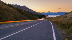 Trailblazing Towards Aoraki (Arief Rasa) Tags: road sunset mountain nz lighttrails lightrail southernalps sunsetsunrise mountcook aoraki mountainrange mountcooknationalpark snowpeak peterslookout mountcookroad