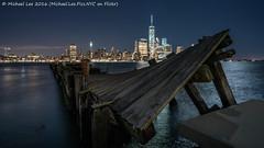 Fallen Pier and WTC (DSC01542) (Michael.Lee.Pics.NYC) Tags: longexposure newyork night pier newjersey jerseycity cityscape sony worldtradecenter newport hudsonriver lowermanhattan crumbled onewtc a7rm2 zeissloxia21mmf28