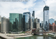 Wolf Point Aerial Panorama (DSC07849-Pano-Edit) (Michael.Lee.Pics.NYC) Tags: panorama chicago reflection architecture clouds construction cityscape sony bridges holidayinn chicagoriver wolfpoint a7rm2 zeissloxia21mmf28