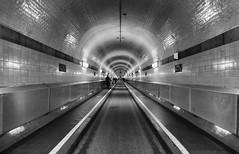 Through The Tunnel (AnyMotion) Tags: travel blackandwhite bw architecture germany reisen hamburg perspective architektur sw 6d alterelbtunnel 2016 anymotion zentralperspektive hamburgimpressions canoneos6d stpaulielbetunnel