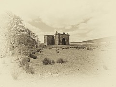 Hermitage Castle is located just of the B399 between Newcastleton and Hawick (penlea1954) Tags: uk walter bw white black castle sepia scott de march scotland britain mary scottish lord queen valley romantic earl middle hermitage sir scots dumfries galloway hawick bothwell soules douglases newcastleton bloodiest liddesdale soulis