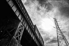 Pipeline (cpjRVA) Tags: cityscape bw blackandwhite virginia richmond leicaq leicacamera leica train jamesriver va rva pipeline
