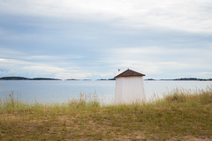 Hanko beach (Olli Tasso) Tags: beach hut changinghut sand grass sea water midday bird landscape scenery maisema seascape ranta hanko suomi finland august summer minimalistic calm