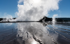 Steaming Reflections (Morten Kirk) Tags: mortenkirk morten kirk yellowstone national park ynp usa 2016 sony a7rii a7r ii sonya7rii ilce7rm2 zeiss batis 25mm f2 225 distagon batis225 batis25mmf2 zeissbatis225 steam excelsior geyser crater reflecting midway basin reflections