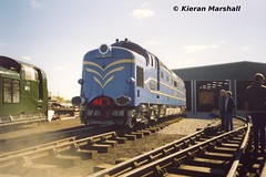 DELTIC at Barrow Hill, 5/10/03 (hurricanemk1c) Tags: 2003 train railway trains railways scannedphoto ee deltic englishelectric dp1 barrowhill prototypedeltic delticpreservationsociety dieselgala2003 prototypesgala2003