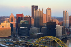 Downtown Pittsburgh Skyline, March 2015 (evz922) Tags: city bridge urban usa glass skyline architecture buildings point corporate one golden design three us office triangle downtown pittsburgh place skyscrapers fort pennsylvania district steel towers headquarters center business pa oxford rivers highrise lovely pitt ppg mellon confluence 412 burgh highmark bny upmc