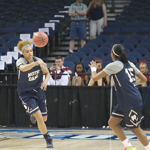 One last run-through—Brianna Turner finds Lindsay Allen on an up-court pass during @ndwbb's open practice Saturday at Amalie Arena in Tampa before Sunday's game.