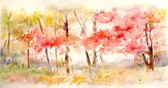 Les arbres rouges (geneterre69) Tags: aquarelle