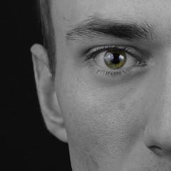 My Eye (Anthony Leveritt) Tags: portrait blackandwhite man green eye face flash 85mm onblack primelens nikoncls sb900 sb700 afsnikkor85mmf18g nikond610