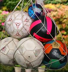 Old Balls (~ Blu ~) Tags: net blu soccer balls 7 seven volleyball deflated flickrbingo3b14