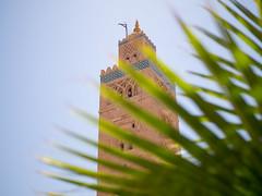 Koutoubia Mosque, Marrakech (TeunJanssen) Tags: leaf minaret olympus mosque palm morocco marrakech medina marrakesh omd 25mm koutoubia omdem10