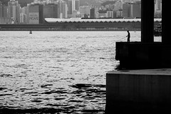 Fishing in The City (1) (Gomen S) Tags: china city people urban blackandwhite bw hk hongkong spring nikon asia afternoon tropical 2016 d5200 1685mm