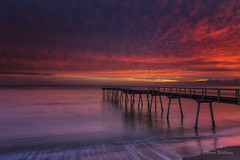 Make your own Luck (SharonWellings) Tags: morning red seascape color colour clouds sunrise pier jetty herveybay