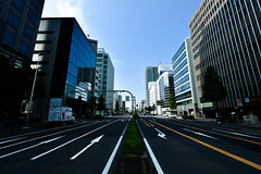 Sunday morning in Japan (philipchan32866) Tags: road street morning blue urban building sunshine traffic empty sunday smooth sunny pedestrian direction arrow directional