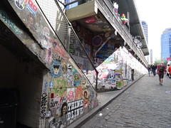 Staircase covered in Graffiti at Pike Place Market (Eric Broder Van Dyke) Tags: seattle architecture building staircase stairway washington railing northwest design abstract modern white usa metal urban pacific stair city stone exterior pioneer background old travel view detail america perspective geometric concrete step steps people style structure graffiti pikeplace market