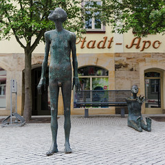 Town Square. Fragment II (Alexander Pugatschewski) Tags: ilmenau thuringia germany city street cityscape houses signs cyclist pedestrianpassage pavement province quiet tranquility travel urban sculpture gable window architecture
