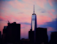 Freedom Tower at Sunrise (Manhattan Girl) Tags: shellykayphotography manhattanskyline nyc freedomtower sunrise nycrooftops cloudscapes