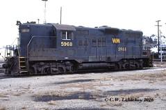 WM 5968 on 11-25-78 (C.W. Lahickey) Tags: wm emd gp9 connellsville