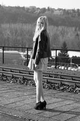 Jessica (kaddafi210) Tags: old bridge portrait blackandwhite bw sun girl lens photoshoot czech prague legs samsung railway praha most blonde m42 czechrepublic manual inteligence czechgirl brank nx210 branickmost