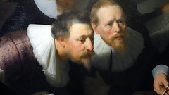 Rembrandt, The Anatomy Lesson of Dr. Tulp, detail with two portraits