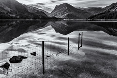 Buttermere Reflections (Stuart Gennery Photography) Tags: blackandwhite mountains nature reflections landscape mono countryside scenery rocks lakedistrict hills cumbria thelakes buttermere englishlakes fleetwithpike northernengland engishlakedistrict