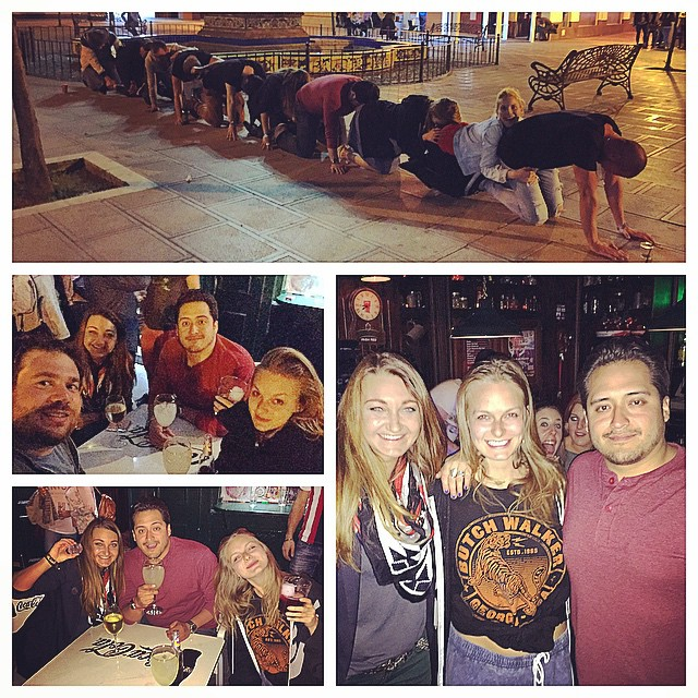 We stumbled on a bar near the border of Gibraltar and immediately made friends with some locals! After a few drinks a giant human centipede photo took place.
