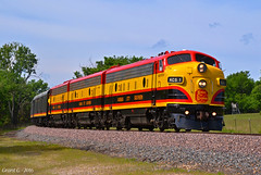 """Northbound KCS Business Train in Drexel, MO (""""Righteous"""" Grant G.) Tags: city railroad lines car train power north engine railway trains special business southern missouri f belle kansas locomotive officer unit northbound emd"""
