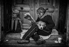 Street portrait of young woman and her dog (Daz Smith) Tags: city uk portrait people urban blackandwhite bw woman dog streets blancoynegro monochrome canon magazine reading blackwhite bath candid homeless citylife thecity streetphotography canine canon6d dazsmith bathstreetphotography