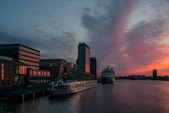 nostalgia.jpg (petdek) Tags: travel sunset netherlands amsterdam clouds harbor ships nl noordholland refelection