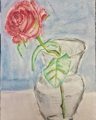 Flower in Vase for Pam. #watercolorpainting #CCAC #ColumbusOhio (Howard TJ) Tags: life stilllife flower rose watercolor painting square still squareformat vase iphoneography instagramapp uploaded:by=instagram