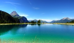 Ehrwalder Almsee (madbesl) Tags: blue sky lake mountains green nature water landscape lumix austria tirol sterreich europa europe view natur panasonic explore g1 grn blau aussicht bergsee tyrol gebirge lumixg1 zuiko918 ehrwalderalmsee
