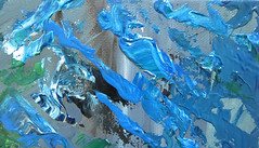 Sky through the Trees - Details (KristinVictoria) Tags: blue original trees sky white abstract black detail tree green art texture leaves triangles painting landscape grey evening paint artist acrylic emotion artistic earth teal painted details gray sienna blues stroke brush burnt greens brushes medium swirl swirls through organic etsy tones greys teals grays abstracted expressing arcylic