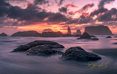 Sunset Lava.jpg (Eye of G Photography) Tags: usa oregon places pacificocean northamerica bandon rockformations skyclouds