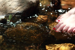 Sparkle (em_burk) Tags: canon arizona toenails foot toes red creek water wading mountgraham nooncreek riparian skyisland girl person rock sparkle toenailpolish pinaleos