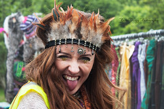 Beautiful faces of Body&Soul 2016  (elizabethanneduffy) Tags: red portrait woman silly love nature smile face festival tongue glitter hair fun outdoors happy gold eyes long pretty feathers naturallight redhead volunteer jewels redhair pure curlyhair headdress beautiul bodyandsoul