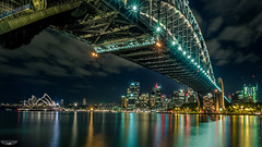 THE SYDNEY TRIO (Laith Stevens Photography) Tags: ocean city bridge color colour skyline reflections wonderful lights long exposure harbour smooth sydney vivid olympus pro f28 omd em1 1240mm
