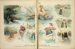1896. Puck's labor-saving suggestion for Cupid's summer work (foot-passenger) Tags: puck americanmagazine   1896   caricature loc libraryofcongress