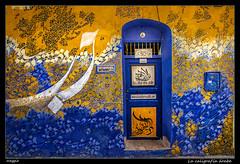 La caligrafa rabe (meggiecaminos) Tags: door blue azul facade puerta indigo morocco maroc porta marocco marruecos azzurro fachada ocre asilah ocher ail ocra indaco
