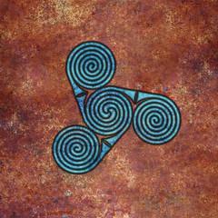 spirals (chrisinplymouth) Tags: spirality art pattern design spiral image whorl coil abstract cw69x artwork square symmetry curl digitalart triplespiral symbol cw69sym celticspiral celtic rust geometric geometry cw69spiral emd