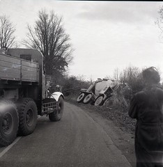 Vintage 1960's-70's Cement mixer crash in a ditch Pioneer recovery truck car reg NEW 564N Motorcycle Cop Policeman (Photos by Alf Jefferies) Tags: crash cement mixer recovery truck old black white 120 negatives