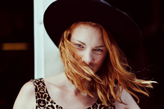 Whispering Wind (RichardTerborg) Tags: mode dutch ginger redhead red hair hat amsterdam netherlands nederland nederlands eyes fashion styling wind blowing bokeh depthoffield portriat style interesting color toning canon sigma50mm depth portret naturallight