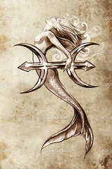 Mermaid tattoo ideas (pics_by_kehleyr) Tags: abstract ancient art artistic artwork background beautiful black clown concept creative curl curve decor decoration decorative design detail dragon draw drawing elegant elements figures genius graphic illustration image ink isolated line modern monster ornament paint pattern retro scroll shape sign silhouette sketch style stylized symbol tattoo tribal