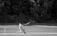 Sixer (Willers1404) Tags: cricket warwick sunny sport batting india six four boundary dismissed wicket cryfield monochrome nikon 80200 champions victory game drive