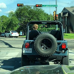 It's just a little bit weird driving behind your kid flying solo. #jeep #jeeplife #cj7 (cmiked) Tags: ifttt instagram 366223 proj366 jeep john waco texas august 2016