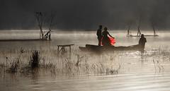 Wedding on Tamblingan lake (Wolf Lady8) Tags: dawn ceremony lake tamblingan red fog