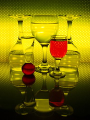 yellow with red (tugboat1952) Tags: stilllife glasses liquid upsidedown yellow red water tugboat1952 reflection refraction
