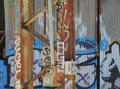 Messy Graffiti (mikecogh) Tags: kilkenny abandoned graffiti rust factory pipe messy disused beams corrugatediron