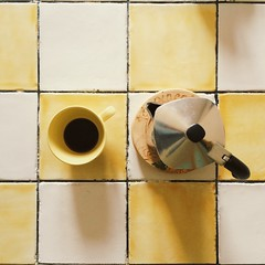 10. Rituals (Smilvria) Tags: home coffee yellow project square table relax break shadows sunday chess homemade moka 52 rituals coffeemaker 52project