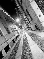 Rue Cornaggia (Alan .) Tags: street blackandwhite italy milan night walking sadness tristeza calle strada italia loneliness walk milano strasse via soledad blacknwhite rue bnw mailand viccolo