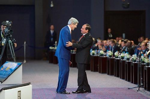 Brutal dictator el-Sisi hugs his pal John Kerry, From FlickrPhotos